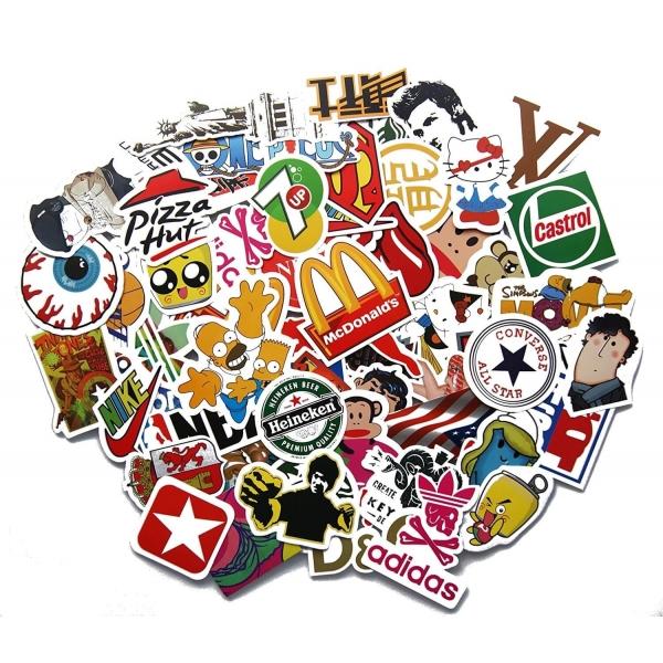 100 Aufkleber Sticker Retro Graffiti Style Echte Logos Marken