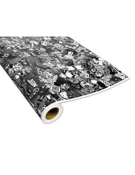 Stickerbomb Autofolie -  Design: Sponge Schwarz/Weiß