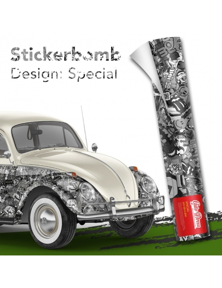 Stickerbomb Autofolie -  Design: Special Schwarz/Weiß