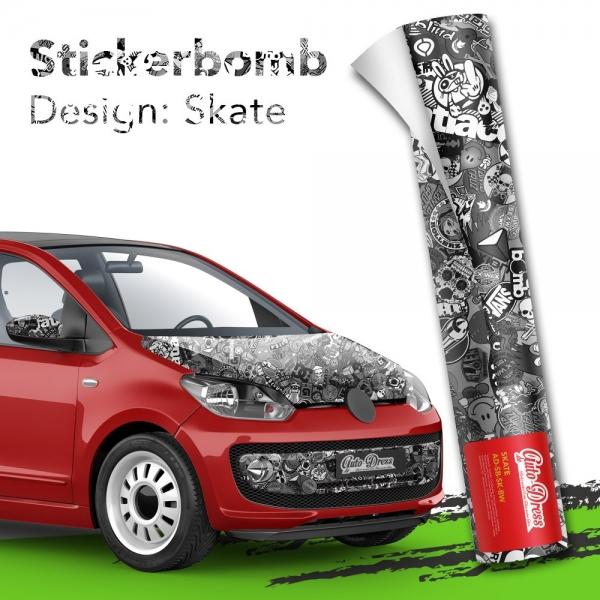 Stickerbomb Autofolie -  Design: Skate Schwarz/Weiß