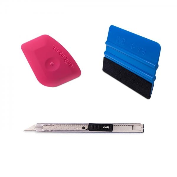 Folierer Set: 3M Rakel + Deli Cuttermesser SK5 30° 9mm + Lil'Chizler Finish Rakel