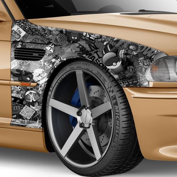 Stickerbomb Autofolie für 3D Car...